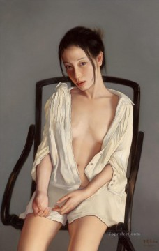 Sitting Chinese Girls Oil Paintings