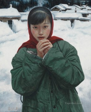 Snow at Frontier Chinese Girls Oil Paintings