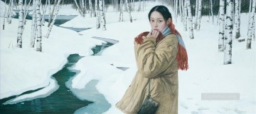Snowmelt in Mountain Chinese Girls Oil Paintings