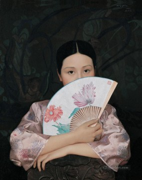 Spring and Fan WYD Chinese Girls Oil Paintings