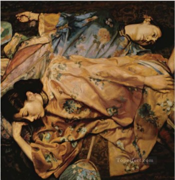 Two Beauties with Fans Chinese Chen Yifei Girl Oil Paintings