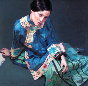 Watching Chinese Chen Yifei Girl Oil Paintings