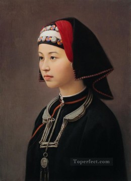 a maiden of Yao nationality Chinese girl Oil Paintings