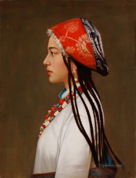Chinese Painting - beautiful galsang flower Chinese girl