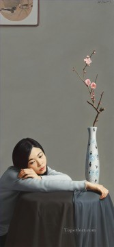 boudoir repinings peach blooms again Chinese girl Oil Paintings