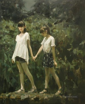 Chinese Girls Painting - girls passing through the stream Chinese girl