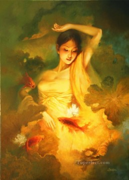 Chinese Painting - holy fish Chinese girl