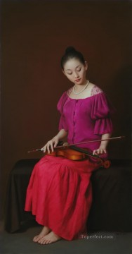 lingering sound Chinese girl Oil Paintings
