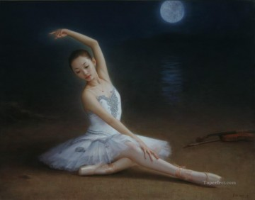 Chinese Painting - lonely ballet Chinese girl