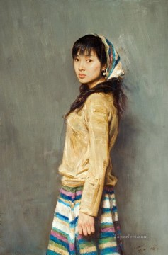 Chinese Painting - looking back Chinese girl