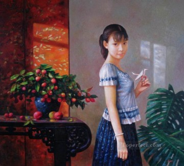 Chinese Girls Painting - wish Chinese girl