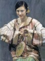 zg053cD172 Chinese painter Chen Yifei Girl