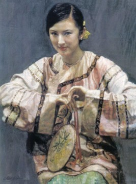 zg053cD172 Chinese painter Chen Yifei Girl Oil Paintings
