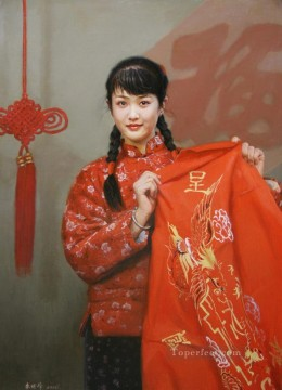 First month of Lunar Year Chinese Girls Oil Paintings