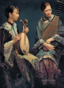 Lyre Playing Chinese Chen Yifei Girl Oil Paintings