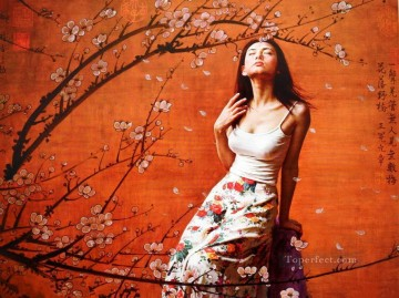 Plum Blossom Chinese Girls Oil Paintings