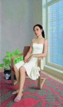 Sunshine in City Chinese Girls Oil Paintings