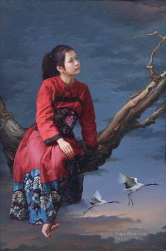 Chinese Painting - a beauty Chinese girl