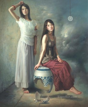 blue and white 2 Chinese girl Oil Paintings