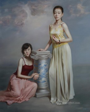 blue and white 3 Chinese girl Oil Paintings
