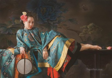 Chinese Girls Painting - blue butterfly Chinese girl