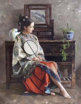 Chinese Girls Painting - bracketplant Chinese girl