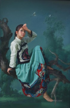 Chinese Painting - crane in a peaceful land Chinese girl