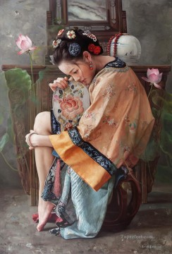 Chinese Girls Painting - seek dreams Chinese girl