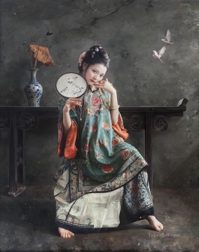 Chinese Painting - sparrow Chinese girl