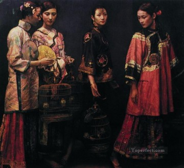 Beauties for the Road 1988 Chinese Chen Yifei Girl Oil Paintings