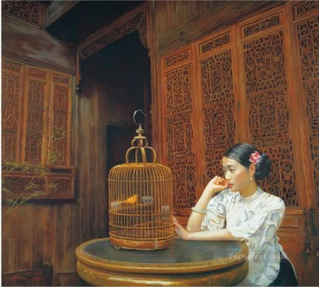 Canary Chinese Chen Yifei Girl Oil Paintings