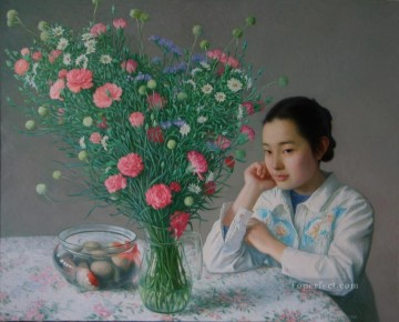 Carnation 2 Chinese Girls Oil Paintings