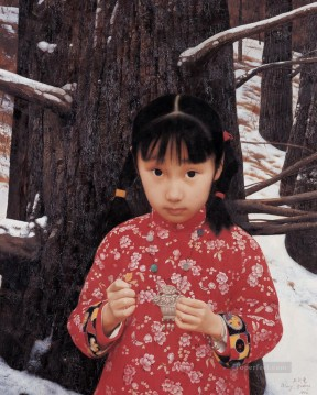 First Snow WYD Chinese Girls Oil Paintings
