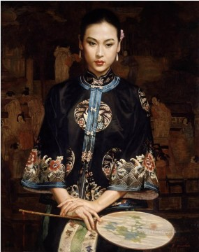 Waiting Chinese Chen Yifei Girl Oil Paintings