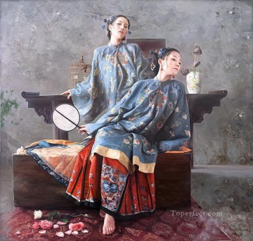 Chinese Painting - skylark Chinese girl