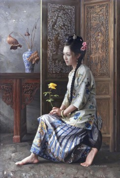 the hope of a beauty Chinese girl Oil Paintings