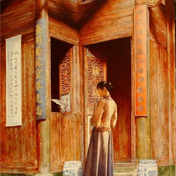 Pink Huizhou city Chinese girl Oil Paintings