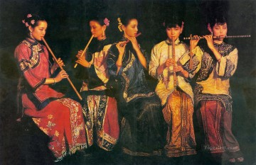 chinese Painting - Banquet Chinese Chen Yifei Girl