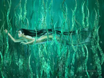 mermaid Painting - Yuehui Tang Chinese nude Mermaid 2