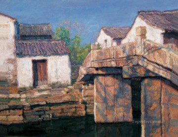 Chinese Painting - River Village Noon Shanshui Chinese Landscape