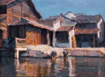 River Village Pier Shanshui Chinese Landscape Oil Paintings