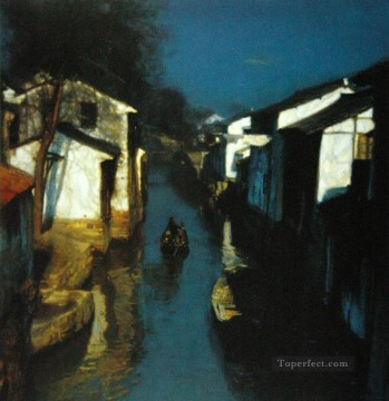 Blue Canal Shanshui Chinese Landscape Oil Paintings