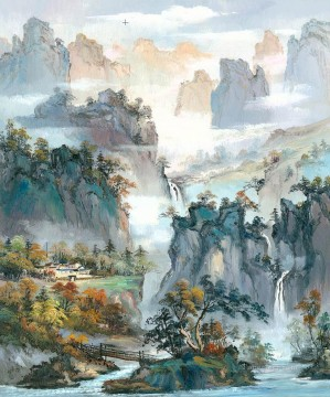 chinese Painting - Chinese Landscape Shanshui Mountains Waterfall 0 953