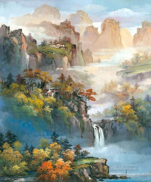 chinese Painting - Chinese Landscape Shanshui Mountains Waterfall 0 954