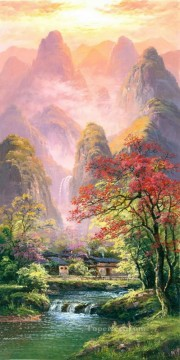 Chinese Painting - Landscape Mountains Scenes with Tree Waterfall River 0 882