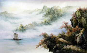 Chinese Painting - Sailing in Autumn Chinese Landscape