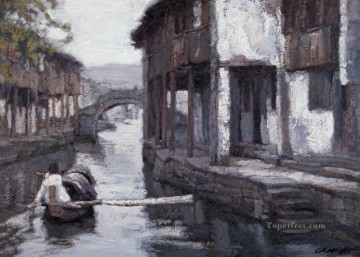 Southern Chinese Riverside Town Shanshui Chinese Landscape Oil Paintings