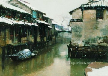 Water Towns Snowing Days Shanshui Chinese Landscape Oil Paintings