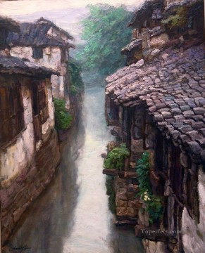 山水画 - zg053cD146 Southern Chinese Riverside Town 中国山水画