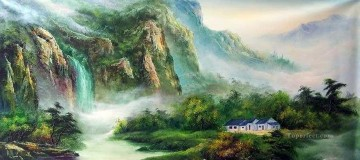 Cottage in Summer Mountains Chinese Landscape Oil Paintings